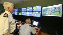 Supt Brendan McDonagh watches over things in the Garda strategic operations control centre inside Shannon Garda station.  Picture; Gerry Mooney