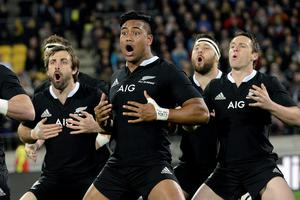 "New Zealand's All Blacks Julian Savea (C) performs the ""haka"" with his teammates before their Rugby Championship match against South Africa's Springboks at Westpac Stadium in Wellington"