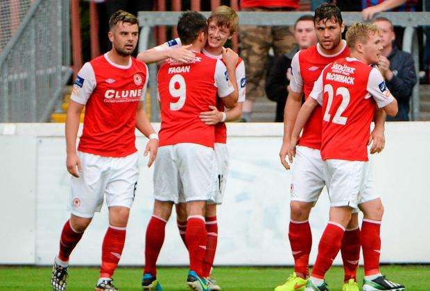 St Patrick's Athletic's Chris Forrester, centre, celebrates with team-mates after scoring his side's only goal against Sligo Rovers. Picture credit: Piaras O Midheach / SPORTSFILE