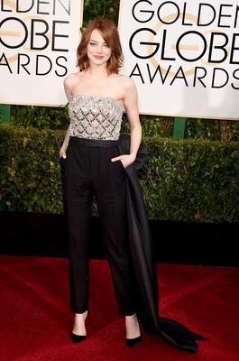 Golden Globes 2015: Actress Emma Stone's Lanvin jumpsuit is all sorts of perfection.
