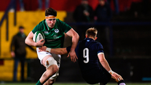 David McCann of Ireland is tackled by Roan Frostwick of Scotland during the U20 Six Nations Rugby Championship match between Ireland and Scotland at Irish Independent Park in Cork. Photo by Harry Murphy/Sportsfile