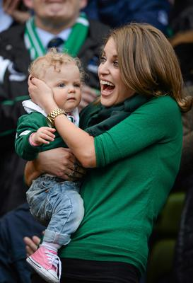 Amy Huberman, Brian O'Driscoll's wife, with their baby Sadie Huberman O'Driscoll before the game in 2014. RBS Six Nations Rugby Championship, Ireland v Italy, Aviva Stadium, Lansdowne Road, Dublin. Picture credit: Paul Mohan / SPORTSFILE