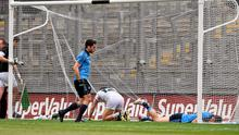 28 June 2015; ernard Brogan, Dublin, goes to to the assistance of his team-mate Diarmuid Connolly after scoring his side's second goal. Leinster GAA Football Senior Championship, Semi-Final, Dublin v Kildare. Croke Park, Dublin. Picture credit: David Maher / SPORTSFILE