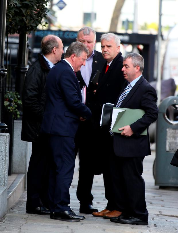 IN DEMAND: Independent Alliance deputies Sean Canney, Shane Ross, Michael Fitzmaurice, Finian McGrath and Kevin 'Boxer' Moran at Leinster House. Photo: Tom Burke