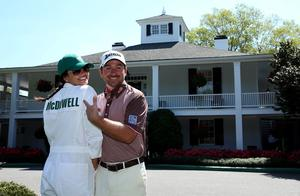 Graeme McDowell of Northern Ireland poses with his fiance, Kristin Stape. Photo: Reuters