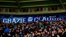 Leicester supporters unveil a banner thanking their former manager Claudio Ranieri Picture: Getty