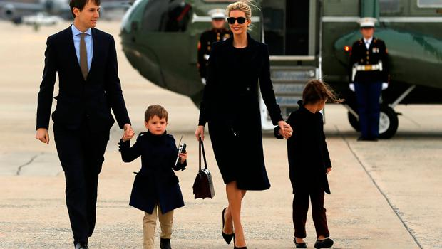 U.S. President Donald Trump's daughter Ivanka Trump (C) and her family, husband Jared Kushner (from L) and children Joseph and Arabella Kushner, arrive aboard the Marine One helicopter with the president to board Air Force One for travel to Florida from Joint Base Andrews, Maryland, U.S. March 3, 2017. REUTERS/Jonathan Ernst