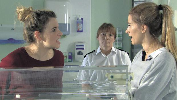 Debbie Dingle (Charley Webb) is struggling to make a decision regarding Moses' operation when Charity Macey (Emma Atkins) arrives, with a prison guard and bristling with attitude.