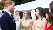 Prince Harry talking with Amy Huberman, Aisling Bea and Lucy Kennedy at the Garden Party in Glencairn