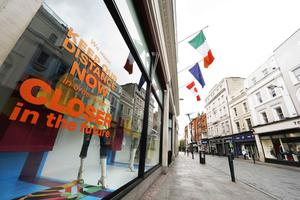 Quiet: Grafton Street in Dublin is deserted as the lockdown continues. Photo: Leon Farrell/RollingNews.ie