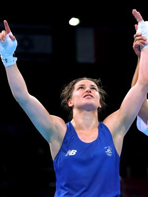 27 June 2015; Katie Taylor, Ireland, after defeating Estelle Mossely, France, following their Women's Boxing Light 60kg Final bout. 2015 European Games, Crystal Hall, Baku, Azerbaijan. Picture credit: Stephen McCarthy / SPORTSFILE