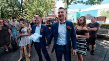 Ron Van Houwelingen and Antony McManus are married in a ceremony in Prahran, Melbourne, Australia, January 9, 2018.  AAP/Luis Enrique Ascui/via REUTERS