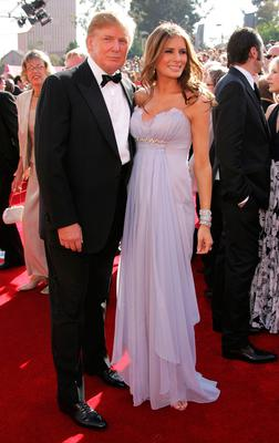 Donald Trump and wife Melania Trump arrives at the 57th Annual Emmy Awards held at the Shrine Auditorium on September 18, 2005 in Los Angeles, California.  (Photo by Frazer Harrison/Getty Images)