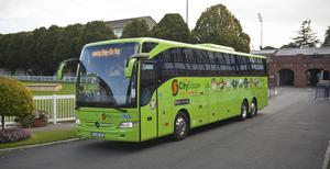 """The new Dublin """"Cityscape"""" Luxury Sightseeing Tours coaches."""