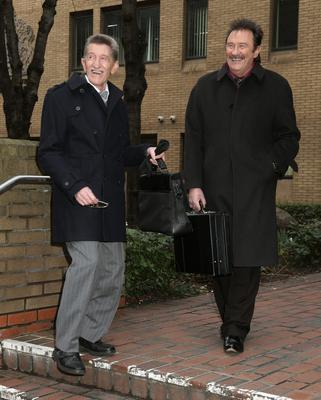The Chuckle Brothers, Barry (left) and Paul Elliott, arrive at Southwark Crown Court in London