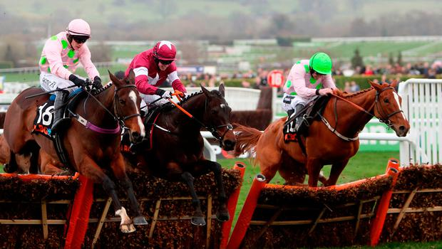 Vroum Vroom Mag, with Paul Townend up, and Limini (right), under Ruby Walsh, come to challenge the Gordon Elliott-trained Apple's Jade and Bryan Cooper at the final flight in yesterday's OLBG Mares' Hurdle, but it was the latter – formerly trained by Willie Mullins – which emerged triumphant on the run-in. Photo credit: David Davies/PA Wire