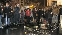 Members of the public during a vigil on O' Connell Street Dublin for people killed in a shooting at the Paris offices of French satirical weekly magazine Charlie Hebdo (Photo: Gareth Chaney Collins)