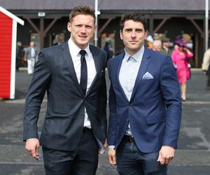 Dublin footballers, Bernard Brogan, right and Paul Flynn at the first day of the Punchestown Festival. Picture credit; Damien Eagers 28/4/2015