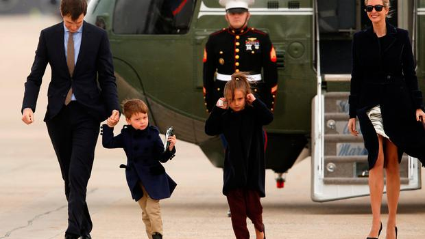 U.S. President Donald Trump's daughter Ivanka Trump (R) and her family, husband Jared Kushner (L) and children Joseph and Arabella Kushner, arrive aboard the Marine One helicopter with the president to board Air Force One for travel to Florida from Joint Base Andrews, Maryland, U.S. March 3, 2017. REUTERS/Jonathan Ernst