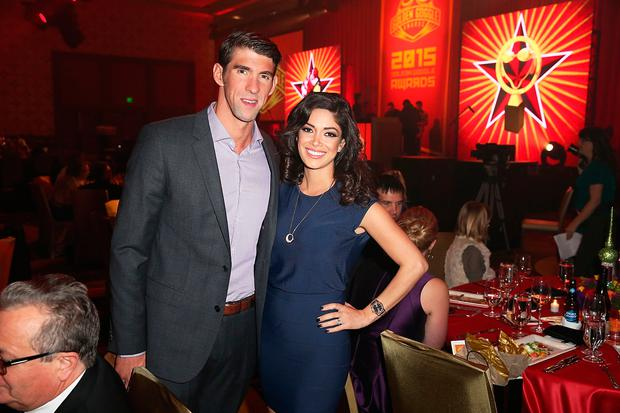 Michael Phelps and Nicole Johnson attend the 2015 USA Swimming Golden Goggle Awards at J.W. Marriot at L.A. Live on November 22, 2015 in Los Angeles, California. (Photo by Joe Scarnici/Getty Images)