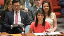 American Ambassador to the United Nations Nikki Haley speaks after the Security Council voted on a new sanctions resolution that would increase economic pressure on North Korea to return to negotiations on its missile program, Saturday, Aug. 5, 2017 at U.N. headquarters. (AP Photo/Mary Altaffer)