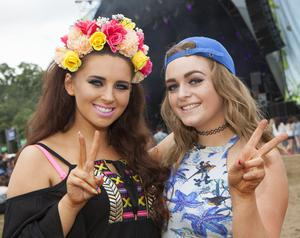 Revelers enjoy day 2 of Longitude 2014 in Marley Park. Pictured: Gina McEntee and Roisin Tolan from Lucan. Picture: Tony Kinlan
