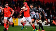 John Hodnett scored a try and was awarded Man of the Match as Munster beat the Kings 68-3 at Irish Independent Park. Photo by Brendan Moran/Sportsfile