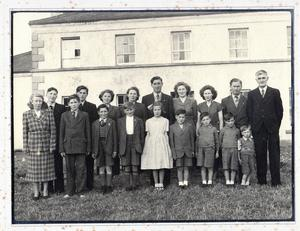 An archive image of the Donnelly family pictured outside their Collegelands home. True North: The Worlds Oldest Family will be shown on BBC One Northern Ireland on Monday 31 October at 10.45pm