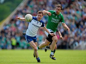 Monaghan's Karl O'Connell in action against Fermanagh's Richard O'Callaghan during the Ulster SFC semi-final at Kingspan Breffni Park back in June 2015. Photo: Daire Brennan / SPORTSFILE