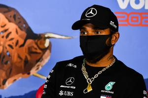 Man behind the mask: Lewis Hamilton speaking at a conference in Spielberg ahead of the return of Formula 1 with Sunday's Austrian Grand Prix