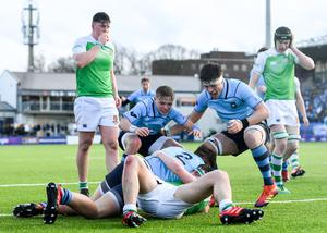 St Michael's hooker Lee Barron crosses for a second-half try in the 34-3 win over Gonzaga in the Leinster Schools Senior Cup quarter-final. Photo by Ramsey Cardy/Sportsfile
