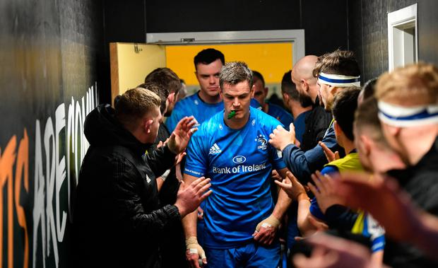 Leinster captain Jonathan Sexton leads his side out