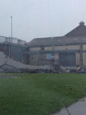 City Council Depot in Moyross,Limerick wall crashes in storm.  (Teresa Blake via Councillor Maurice Quinlivan on Twitter)