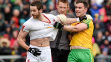Donegal's Patrick McBrearty  tussles with Ronan McNamee and Michael O'Neill of Tyrone