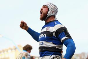 Dave Attwood of Bath celebrates the decisive try scored by Carl Fearns during the European Rugby Champions Cup Pool Four match between Bath Rugby and Glasgow Warriors at the Recreation Ground