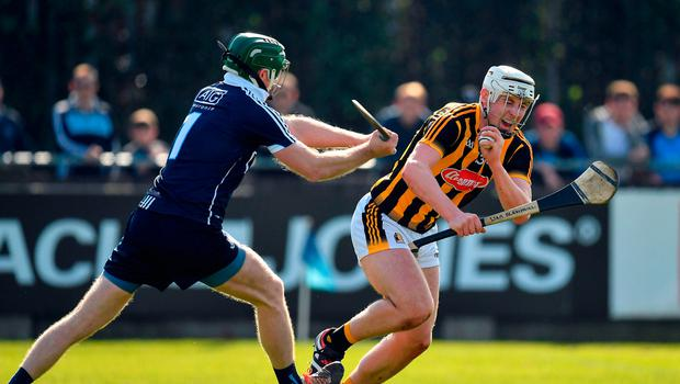 26 March 2017; Dublin goalkeeper Gary Maguire pulls across Liam Blanchfield of Kilkenny, for which he was shown a sraight red card, during the Allianz Hurling League Division 1A Round 5 match between Dublin and Kilkenny at Parnell Park in Dublin. Photo by Brendan Moran/Sportsfile