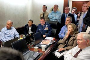 U.S. President Barack Obama and Vice President Joe Biden, along with members of the national security team, receive an update on the mission against Osama bin Laden in the Situation Room of the White House (REUTERS/White House/Pete Souza)