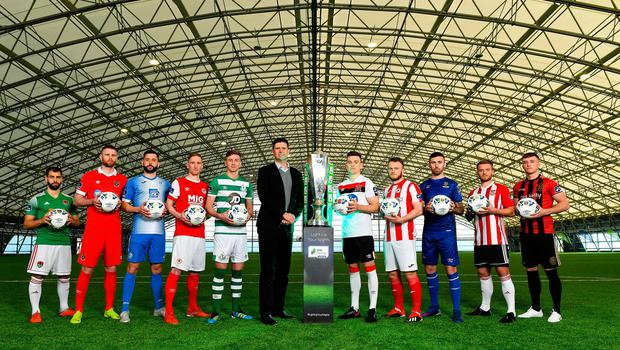 Premier Division players, from left, Conor Davis of Cork City, Ciaran Kilduff of Shelbourne, Dave Webster of Finn Harps, Ian Bermingham of St Patrick's Athletic, Ronan Finn of Shamrock Rovers, FAI Interim Deputy Chief Executive Niall Quinn, Darragh Leahy of Dundalk, David Cawley of Sligo Rovers, Robbie McCourt of Waterford, Conor Clifford of Derry City and Danny Grant of Bohemians during the launch of the 2020 SSE Airtricity League season. Photo by Seb Daly/Sportsfile