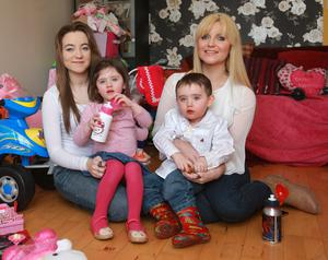 Happy home: Pearl with her twins and older daughter Pix Ronan Lang/Feature File