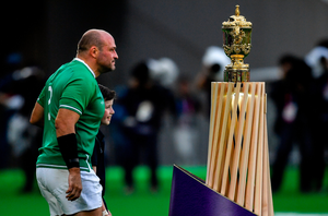 Ireland captain Rory Best walks past the William Webb Ellis Cup prior to the 2019 Rugby World Cup Pool A match between Ireland and Scotland at the International Stadium in Yokohama, Japan. Photo: Brendan Moran/Sportsfile