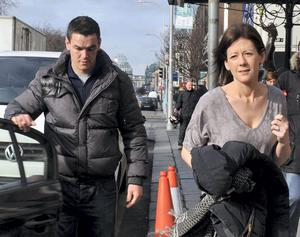 Johnny Sexton and his wife Laura leaving the Shelbourne Hotel yesterday. Photo: John Dardis.