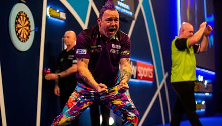 Peter Wright celebrates winning during day sixteen of the William Hill World Championships at Alexandra Palace, London. PA Photo. Picture date: Wednesday January 1, 2020. See PA story DARTS World. Photo credit should read: Steven Paston/PA Wire.