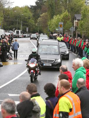 The hearse arrives at St Marys Church in Lucan for the funeral of Aiden Lynam, co-founder of Rev-Up4DSI. Picture credit; Damien Eagers 6/5/2015