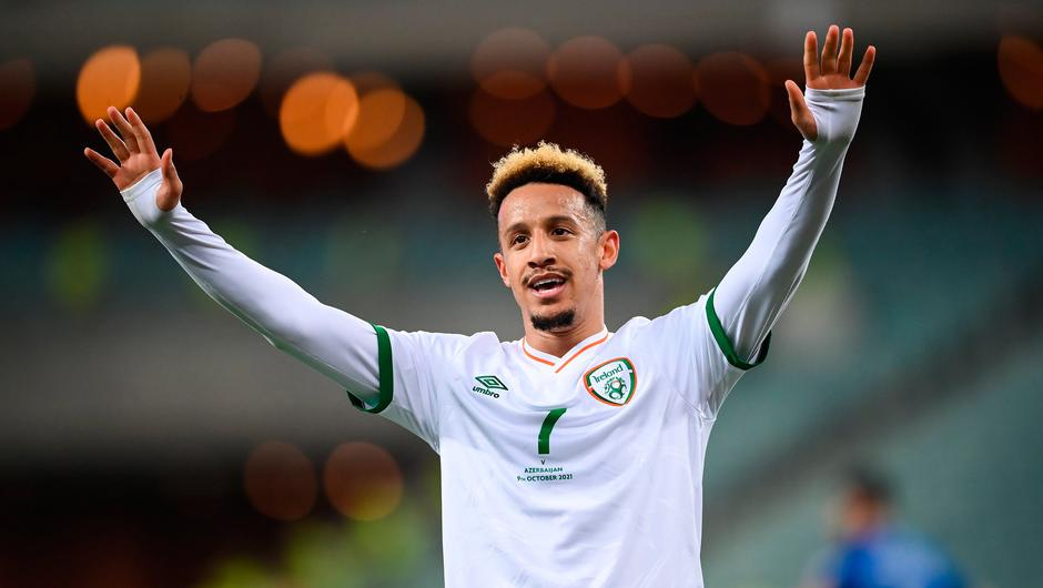9 October 2021; Callum Robinson of Republic of Ireland celebrates after scoring his side's second goal during the FIFA World Cup 2022 qualifying group A match between Azerbaijan and Republic of Ireland at the Olympic Stadium in Baku, Azerbaijan. Photo by Stephen McCarthy/Sportsfile