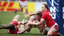 Rugby Union - Women's Six Nations - England v Wales - Twickenham Stoop, London, Britain - March 7, 2020   England's Poppy Cleall scores their sixth try under pressure from Wales' Kayleigh Powell and Lisa Neumann   Action Images via Reuters/Peter Cziborra