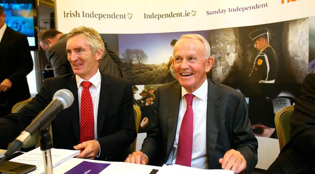 INM chairman Leslie Buckley pictured with Michael Doorley, Company Secretary, after the Independent News & Media AGM in the Westbury hotel. Photo: Frank McGrath