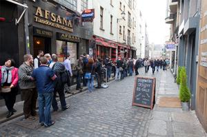 The queue of hopefuls in Temple Bar, Dublin, yesterday