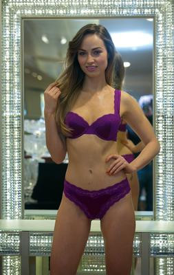 Daniella Moyles wearing Stella McCartney Lingerie Clara Whispering Bra, Brief as part of a showcase of Valentines Day Lingerie looks from the Lingerie Rooms at Brown Thomas.