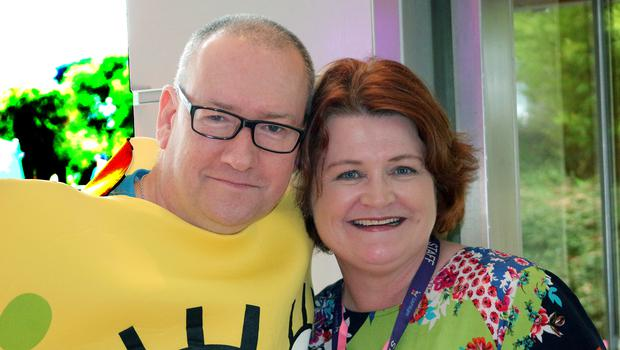 Paul Hickey, pictured here with fundraiser Jacqui Dunleavy, dressed up for the children