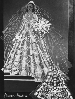1947:  A sketch of Princess Elizabeth's wedding dress by Norman Hartnell.  (Photo by Central Press/Getty Images)